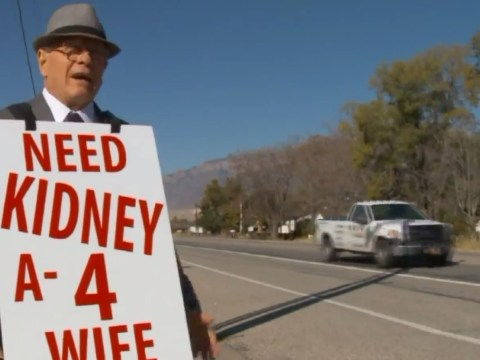 74-year-old walks streets with sign every day to find kidney donor for sick wife
