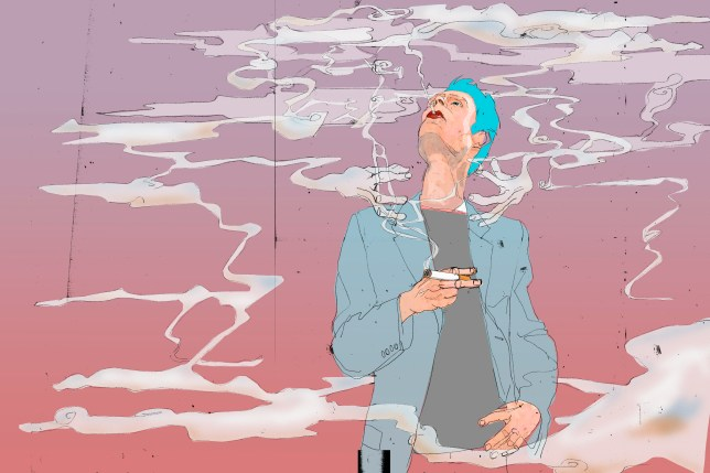 Illustration of man with blue hair smoking