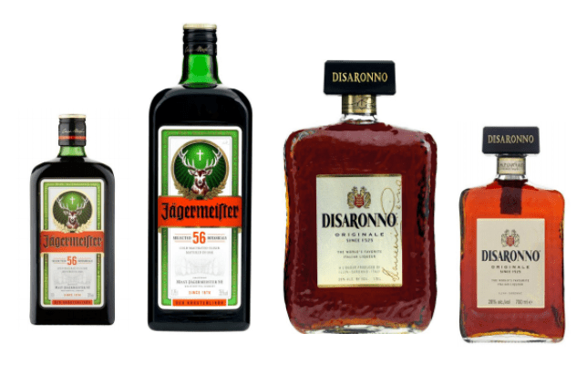 Normal 70cl bottles of Jagermeister and Disaronno stood beside 1.75l bottle of the spirit.