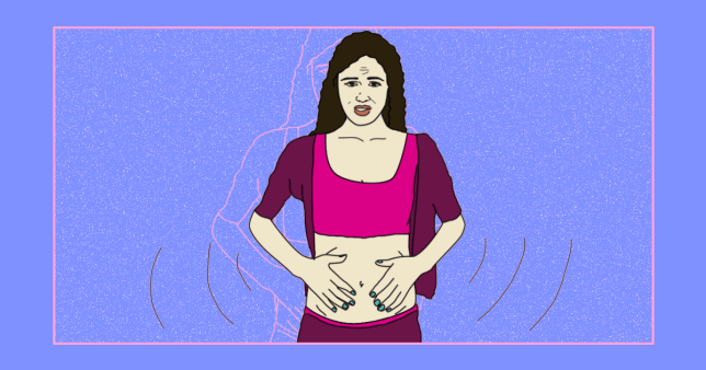 Illustration of woman with stomach cramps
