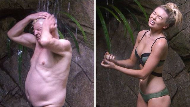 Georgia Toffolo and Stanley Johnson are the first to brave the I'm A Celebrity showers
