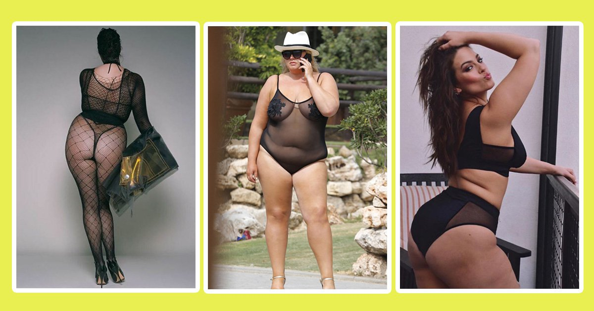 28fbe9986a0 Plus-size ladies – from Gemma Collins to Ashley Graham – show how wearing  mesh will never go out of fashion