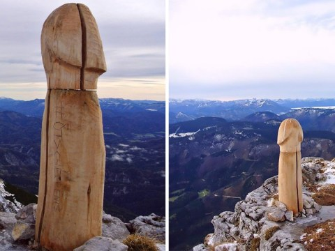 Giant wooden penis appears on top of a mountain