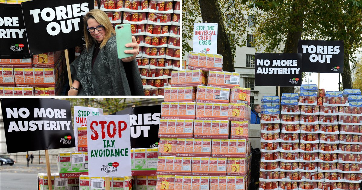Food dumped on Downing Street to protest people left in poverty by the Budget