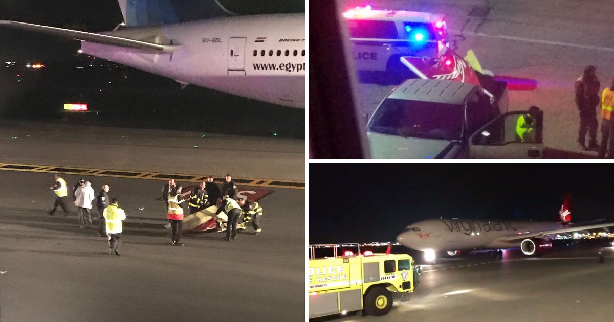 Virgin plane loses part of wing after getting clipped on the runway