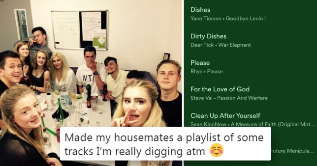 Guy creates hilarious Spotify playlist to dig at messy housemates