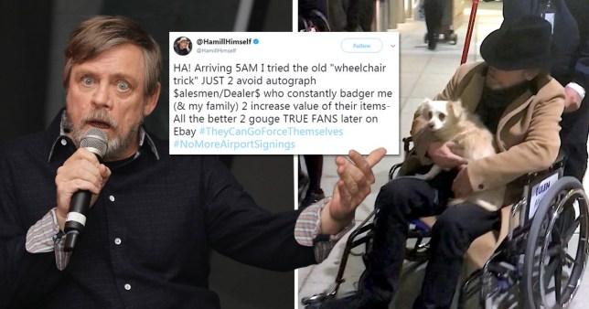 Mark Hamill in a wheelchair