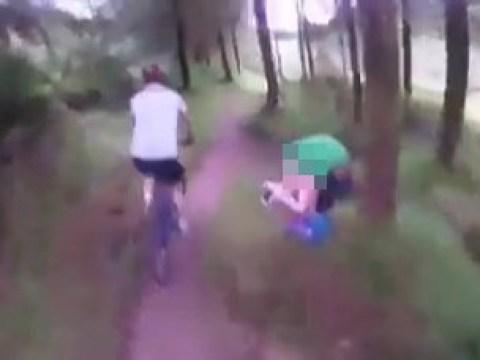 Mountain bikers riding through woods catch couple having sex