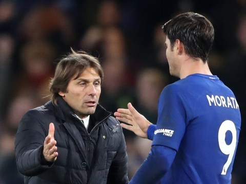 Antonio Conte tells Alvaro Morata what he has to improve after scoring winner v Manchester United