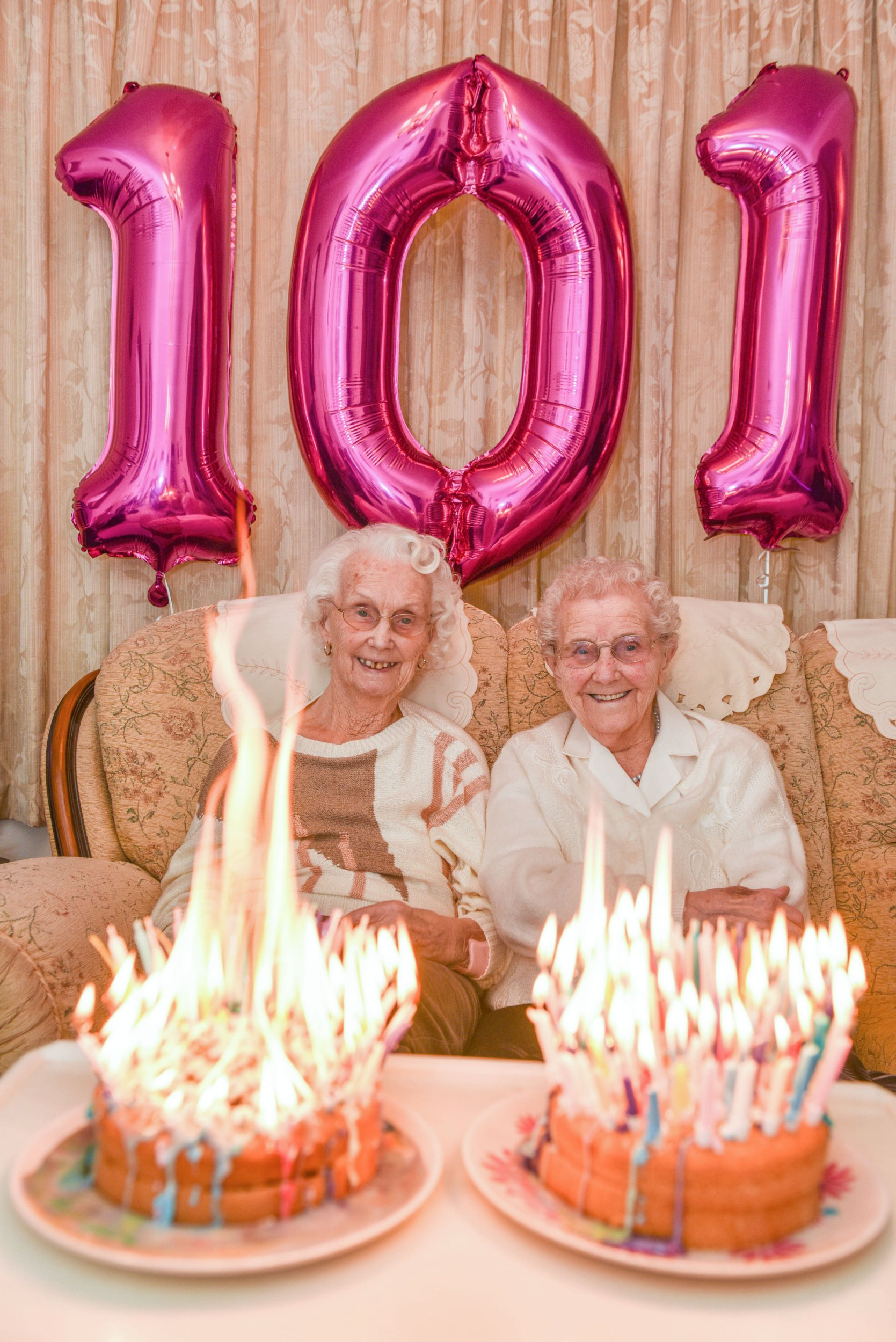 101 YEAR OLD TWINS CANDLE FIRE