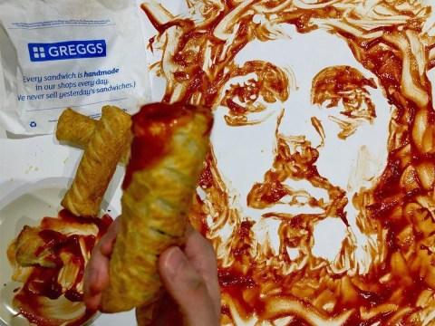 Artist paints portrait of Jesus using Greggs sausage roll