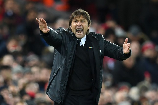 Antonio Conte gestures wildly at one of his players from the touchline