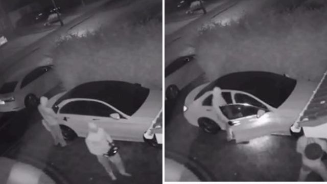 Two men use 'relay boxes' to steal a Mercedes parked on a driveway