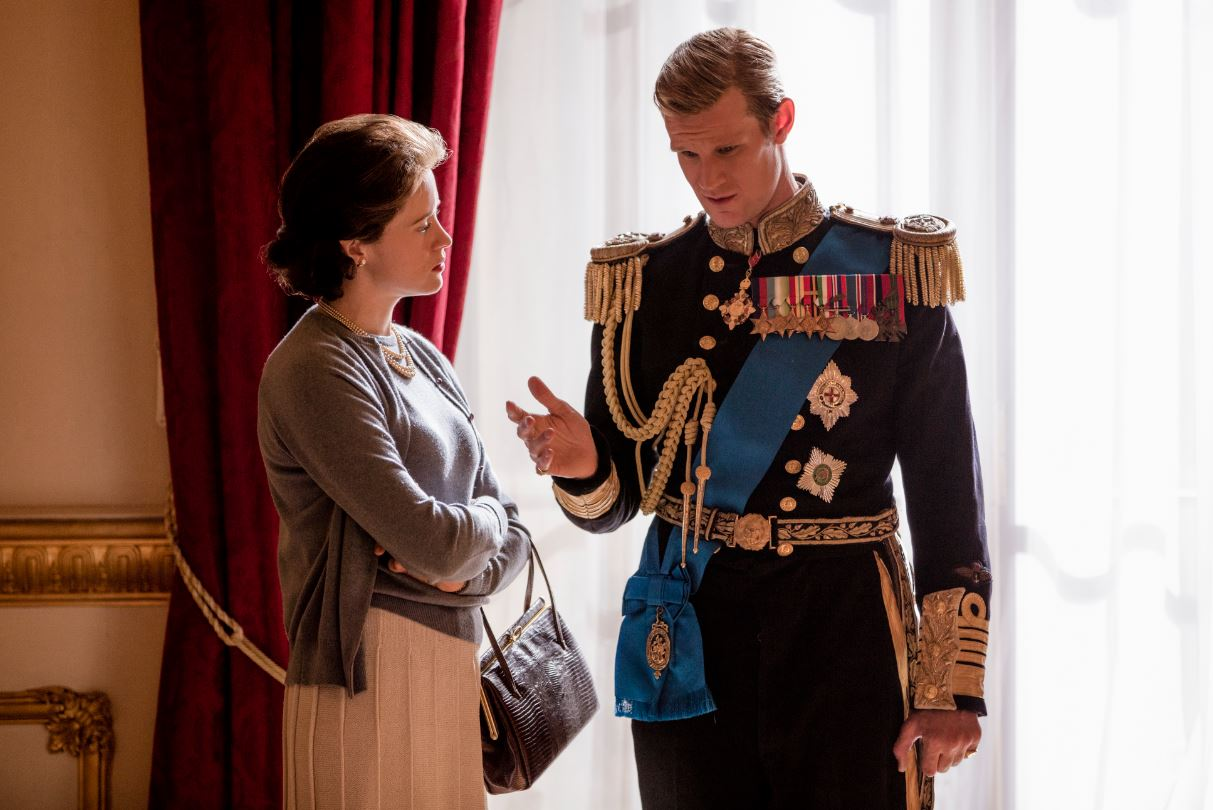 Queen Elizabeth and Prince Philip in The Crown