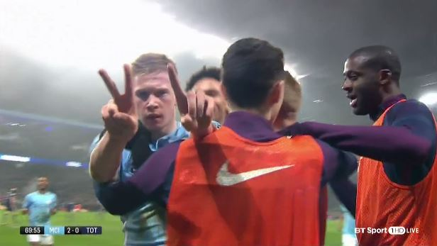 The real reason behind Kevin De Bruyne's '2-1' celebration in Manchester City's win over Tottenham