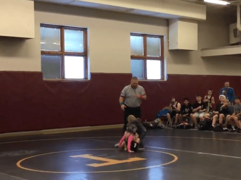 Little brother rushes to help sister thinking she was in trouble during wrestling match