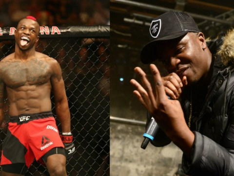 British star Marc Diakiese walks out to 'Man's Not Hot' at UFC 219