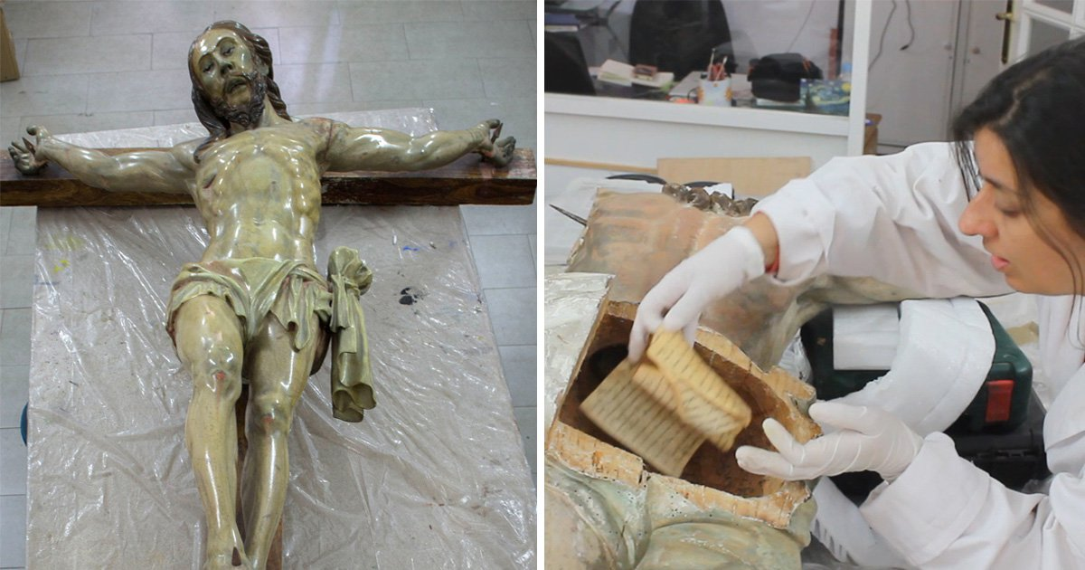 250-year-old note stashed inside backside of Jesus Christ statue