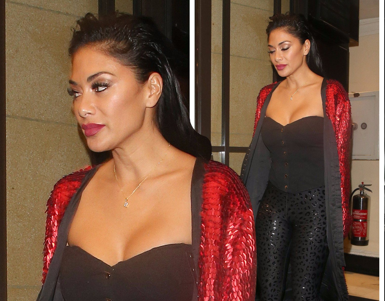 Nicole Scherzinger ditches the 'sea urchin' style for festive fun at X Factor after party