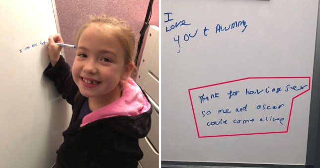A fun-loving parent says she was in hysterics when she discovered a note from her young daughter thanking her mum for HAVING SEX so she could bring herself and her brother into the world.