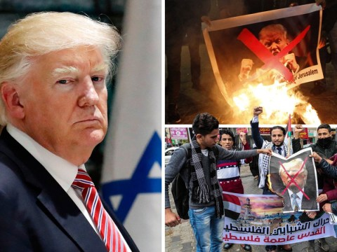Pictures of Donald Trump burned after he said Jerusalem is capital of Israel