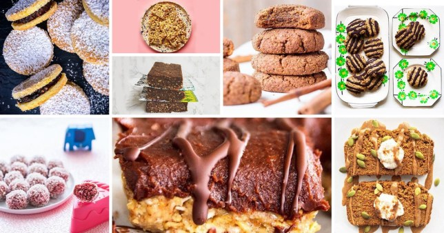 Dark rum, prune and orange cookies, Nut-free energy balls, Grain and oat bars, Raw brownies, Gooey chocolate flapjack bites, Gluten-free gingerbread cookies, Apricot and dark chocolate bumbles, Gluten-free pumpkin bread