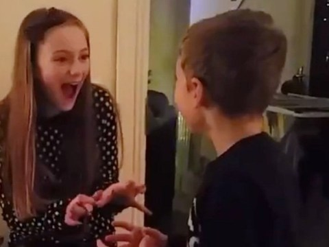 Children find out school is closed in best possible way