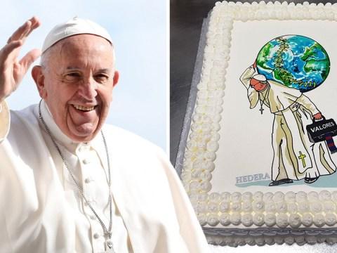 Pope celebrates his 81st birthday with cake designed by street graffiti artist