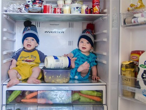 Dad's photo series shows just how hectic life with identical twins can be