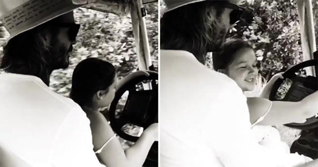 Victoria Beckham shares video of David driving daughter Harper picture: victoriabeckham REF: https://www.instagram.com/p/BdVgGjfFeX4/?hl=en&taken-by=victoriabeckham