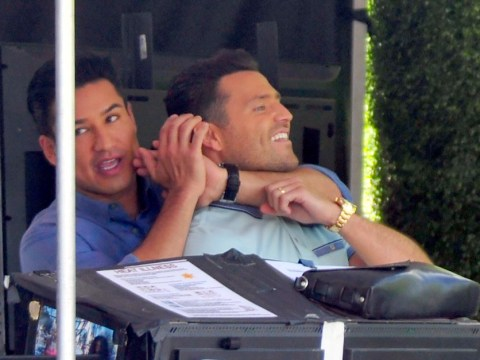 Mario Lopez chokes Mark Wright in clear sign their bromance is getting stronger and stronger