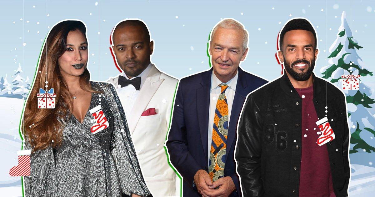Preeya Kalidas, Noel Clarke, Jon Snow and Craig David in front of a festive background