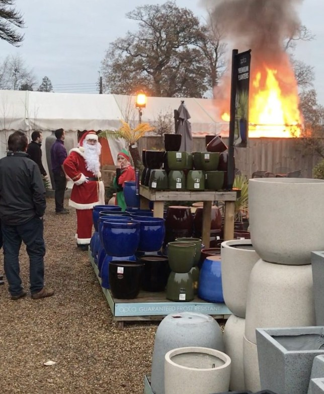 Father Christmas survives fire in garden centre grotto