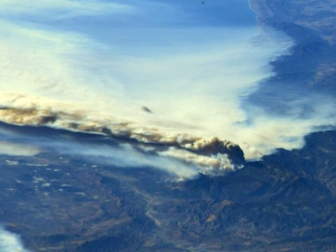 Nasa releases pictures of California wildfires taken by International Space Station astronaut