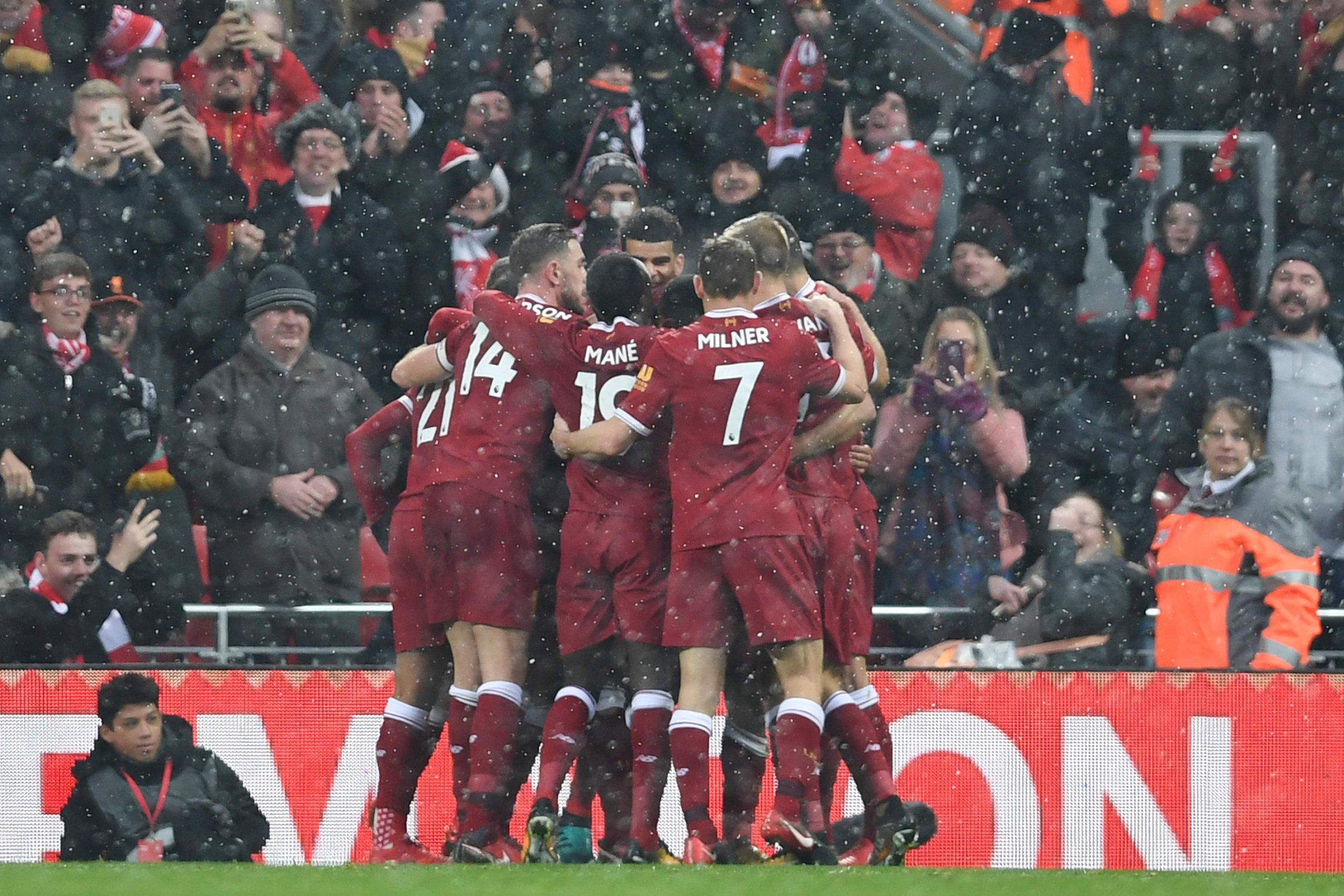 Liverpool celebrate after Mo Salah's goal