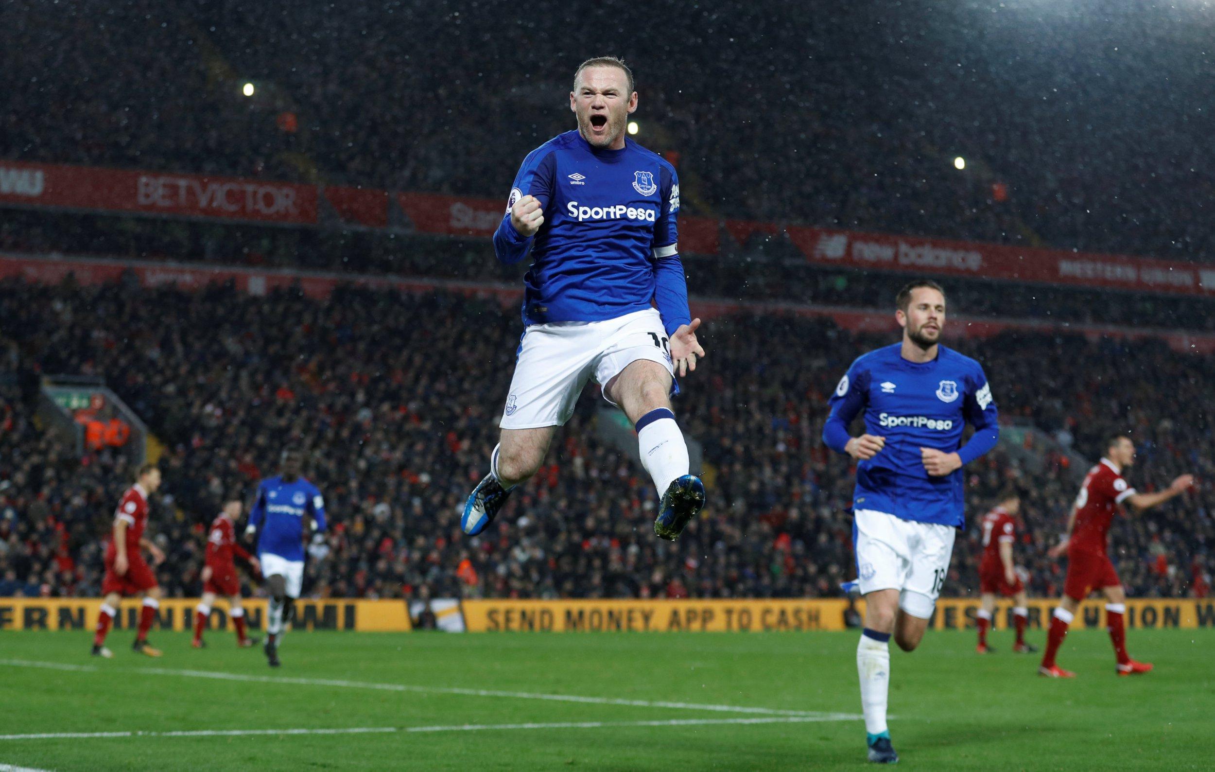 Wayne Rooney celebrates a goal at Anfield