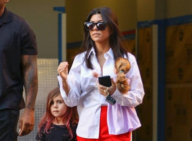 c9cd34a18c1e Kourtney Kardashian leaves art class as daughter has purple hair (Picture:  FANA / BACKGRID