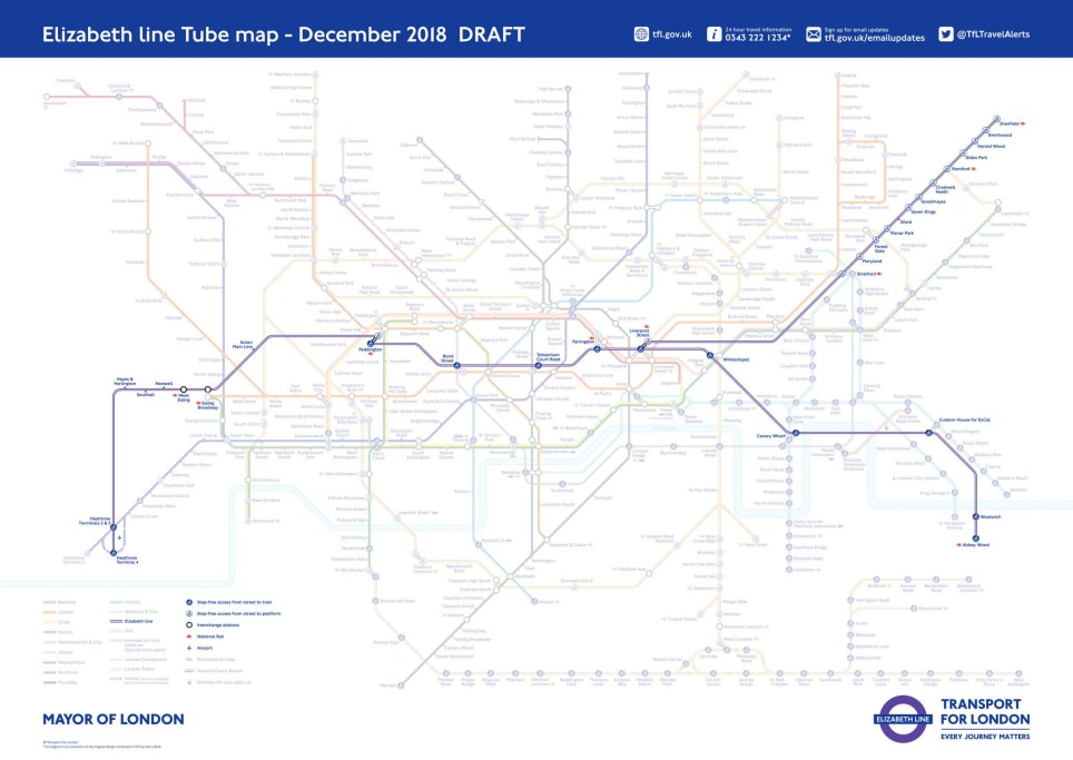 Transport For London Map.New Tube Map With Elizabeth Line On It Released By Tfl Metro News