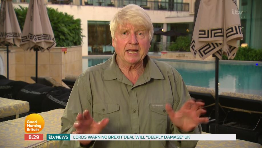 Stanley Johnson reveals he's lost 9 kilos after I'm A Celebrity as he makes on-air gaffe about son Boris