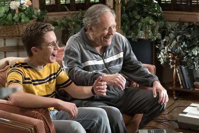 Sean Giambrone and George Segal in season five of The Goldbergs