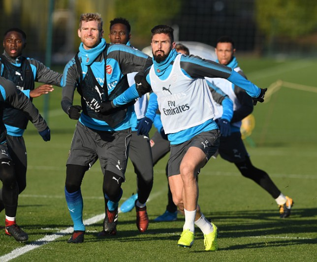 Olivier Giroud in training with Arsenal (