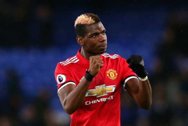 Paul Pogba celebrates beating Everton