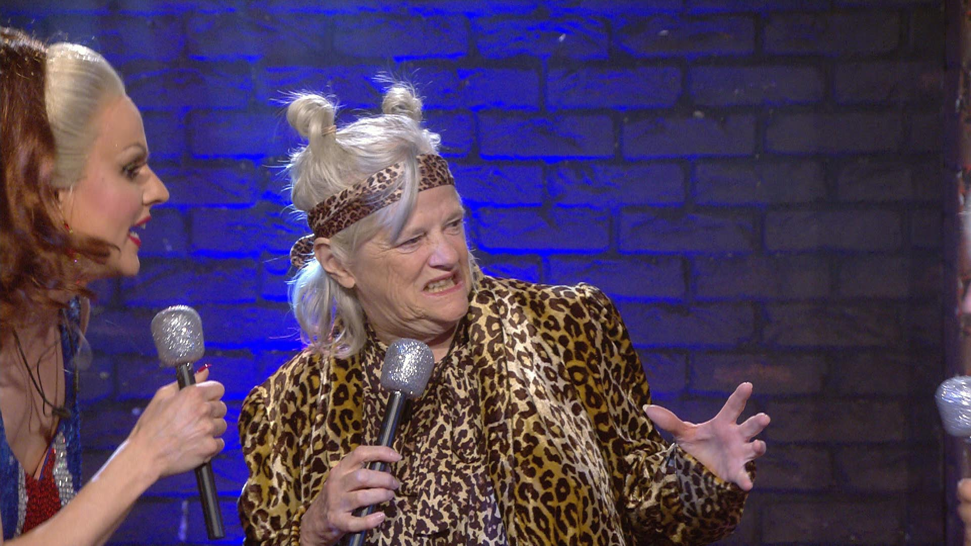 CBB's Ann Widdecombe transforms into a growling Mel B as group perform the Spice Girls