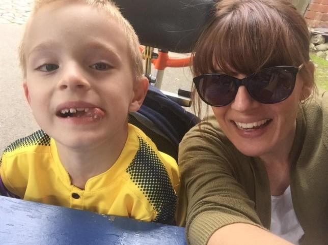 Sarah Brisdion with her son, Hadley