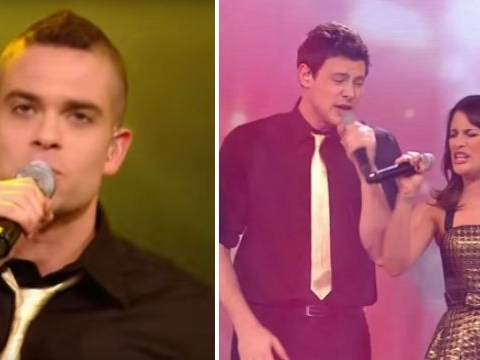 Mark Salling and Cory Monteith perform Don't Step Believin' with Glee cast on The X Factor in 2010