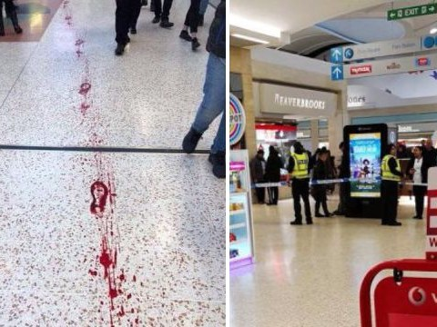 Trail of blood left on floor after double stabbing at shopping centre