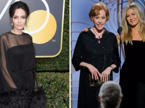 Dakota Johnson side-eyeing Angelina Jolie whilst Jennifer Aniston is on stage at the Golden Globes is all of us
