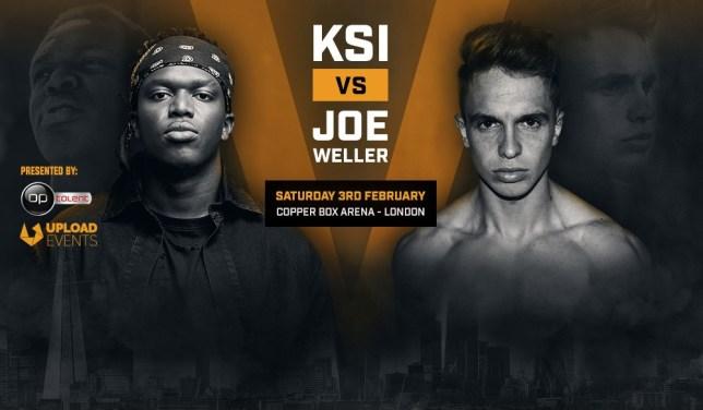 Promotional poster for KSI vs Joe Weller boxing fight.