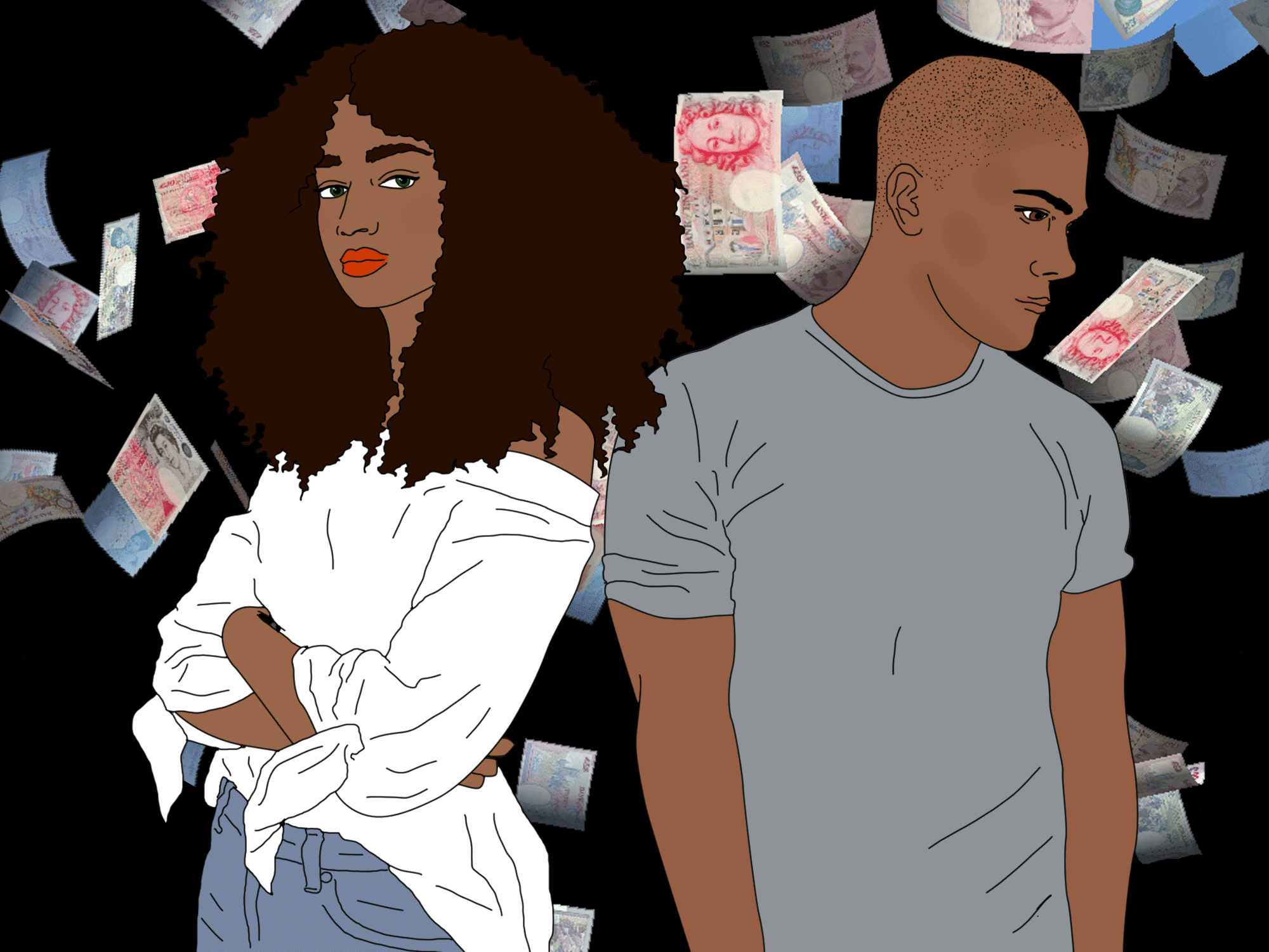 A couple with money
