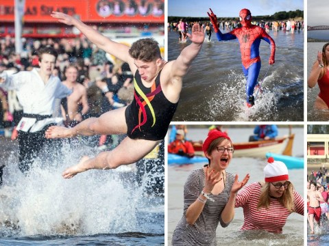 Hundreds of swimmers brave icy waters for traditional New Year's Day dips